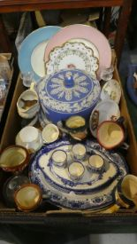 Lot 256 - A Box of Ceramics to Include Jasperware Cheese Dish and Cover (AF), Various Character Jugs, Blue and