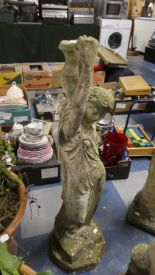 Lot 345 - A Cast Reconstituted Stone Garden Figure of Maiden Carrying Urn, 90cm High