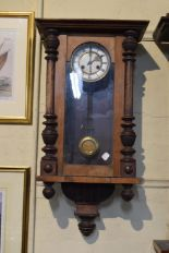 Lot 177 - An Edwardian Wall Clock with Half Pilasters, 77cm High