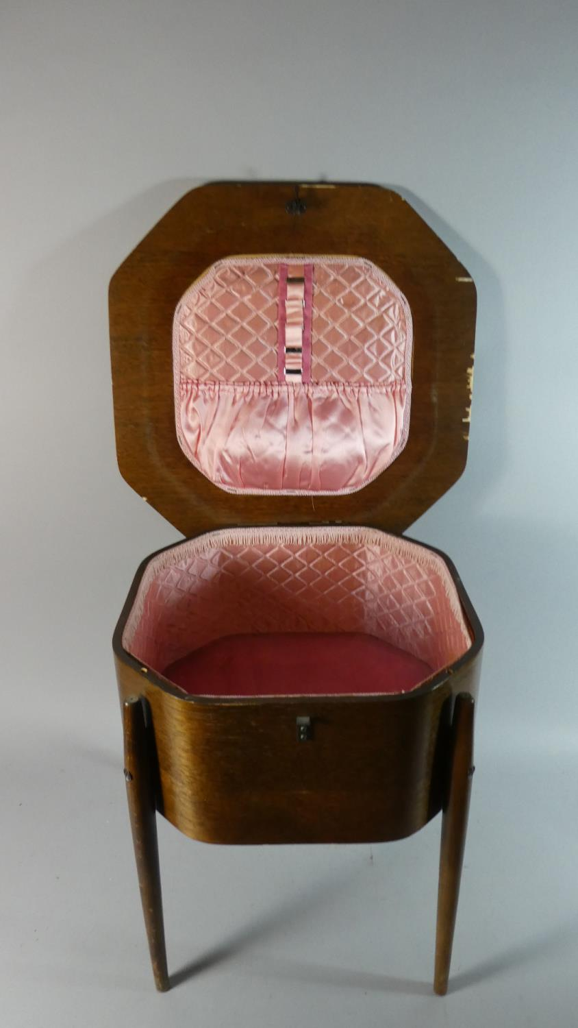 Lot 313 - An Edwardian Oak Lift Top Sewing Box with Satin Lined Interior, 44.5cm Wide