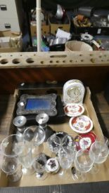 Lot 336 - A Box of Sundries to Include Silver Mounted Photo Frame, Glasswares, Black Jasperware, Aynsley