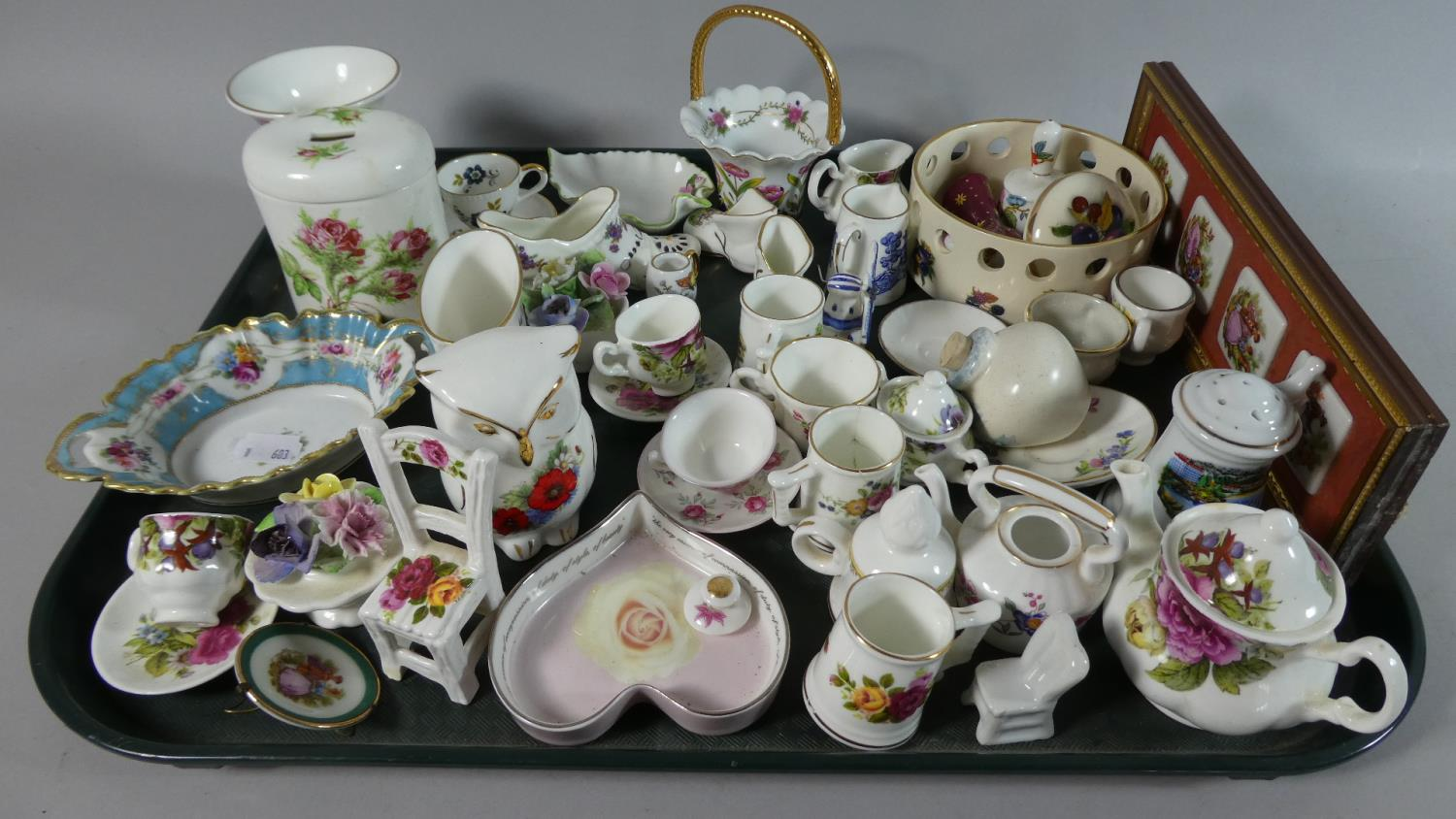 Lot 257 - A Tray Containing Miniature Ceramic Items to Include Teapots, Cups and Saucers, Pin Dishes etc
