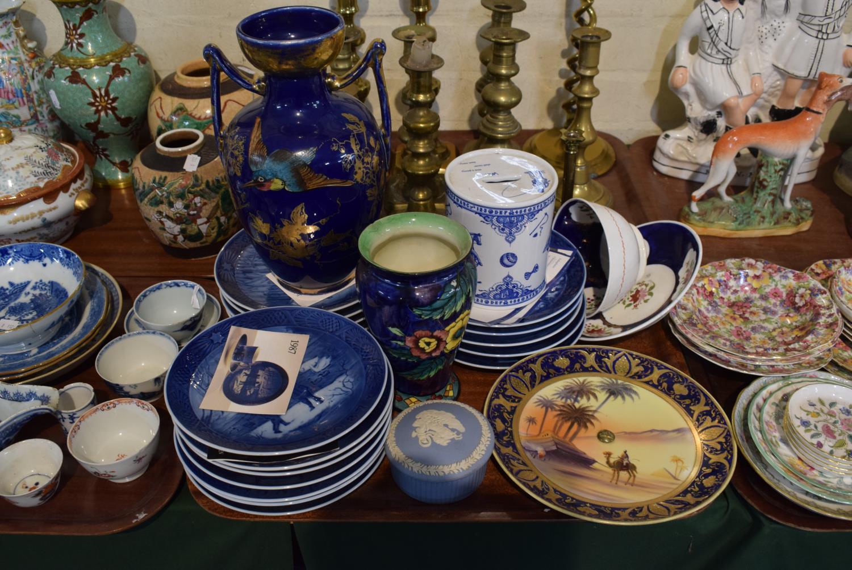 Lot 182 - A Collection of Eighteen Royal Copenhagen Christmas Plates, Two Cobalt Blue Vases, Noritake Cobalt