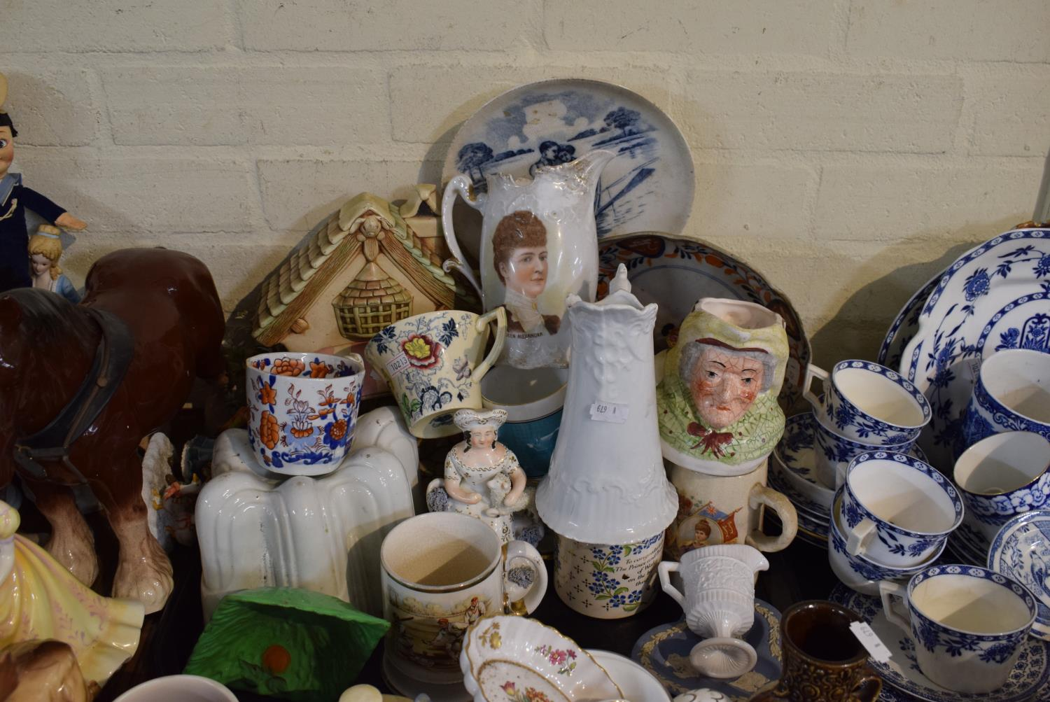 Lot 199 - A Tray of 19th Century and Later Staffordshire Ceramics to Include Jugs, Jelly Mould, Tankards,