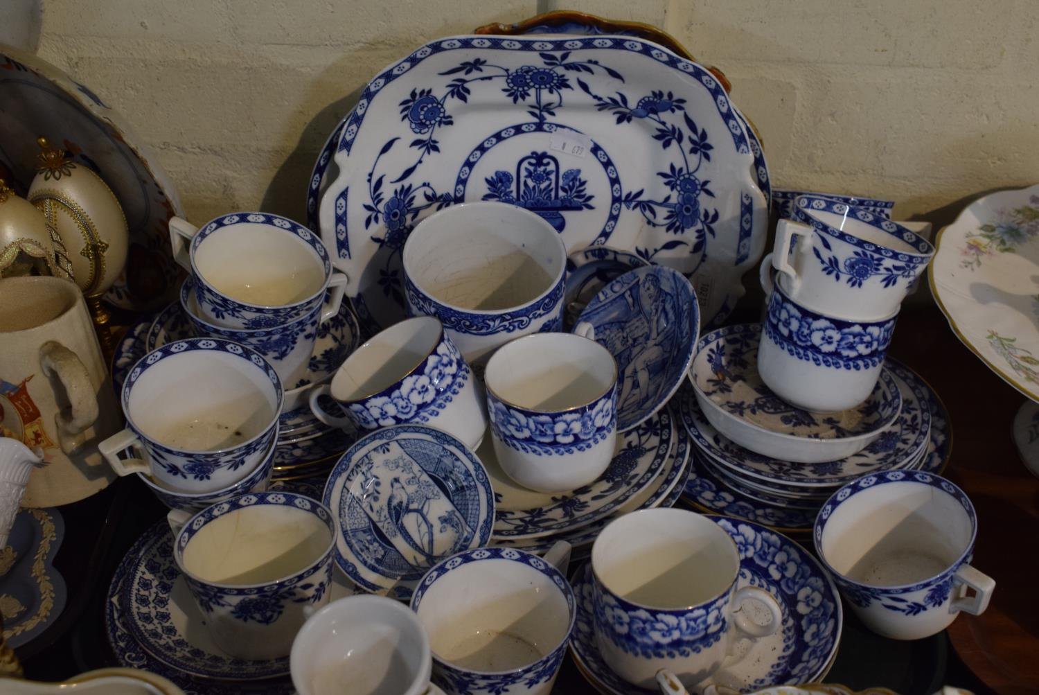 Lot 196 - A Tray Containing Various Blue and White Teawares, Pin Dishes Etc