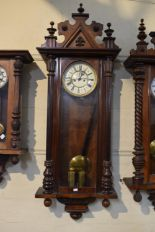 Lot 174 - A Late Victorian Mahogany Cased Two Weight Vienna Wall Clock, 130cm High