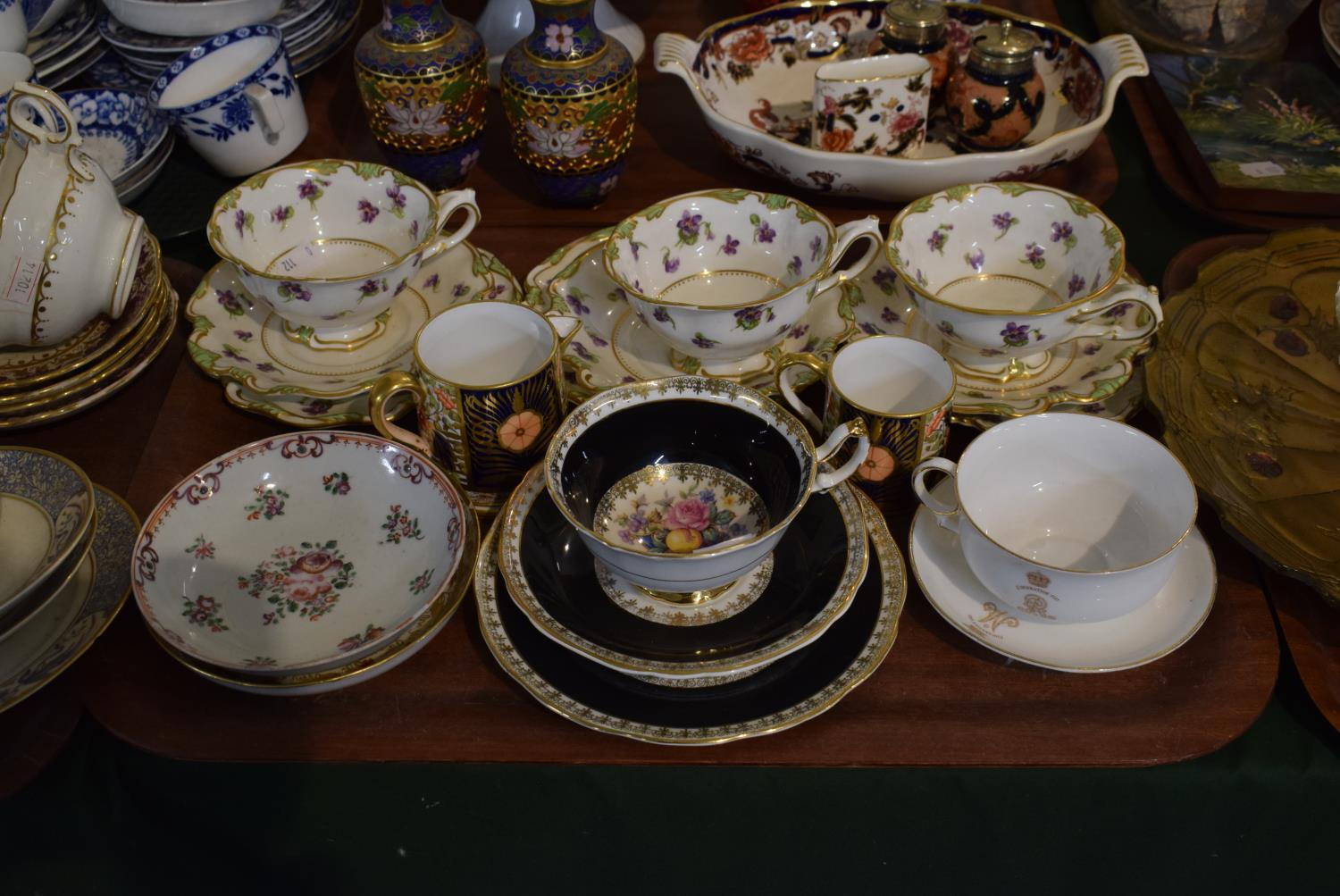 Lot 190 - A Collection of Various Cabinet Cups and Saucers, Davenport Jug and Coffee Can, Royal Doulton