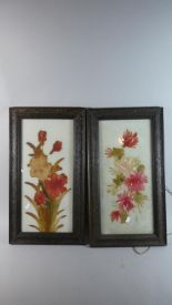 Lot 330 - Two Framed Painted Glass Panels, Still Life Flowers