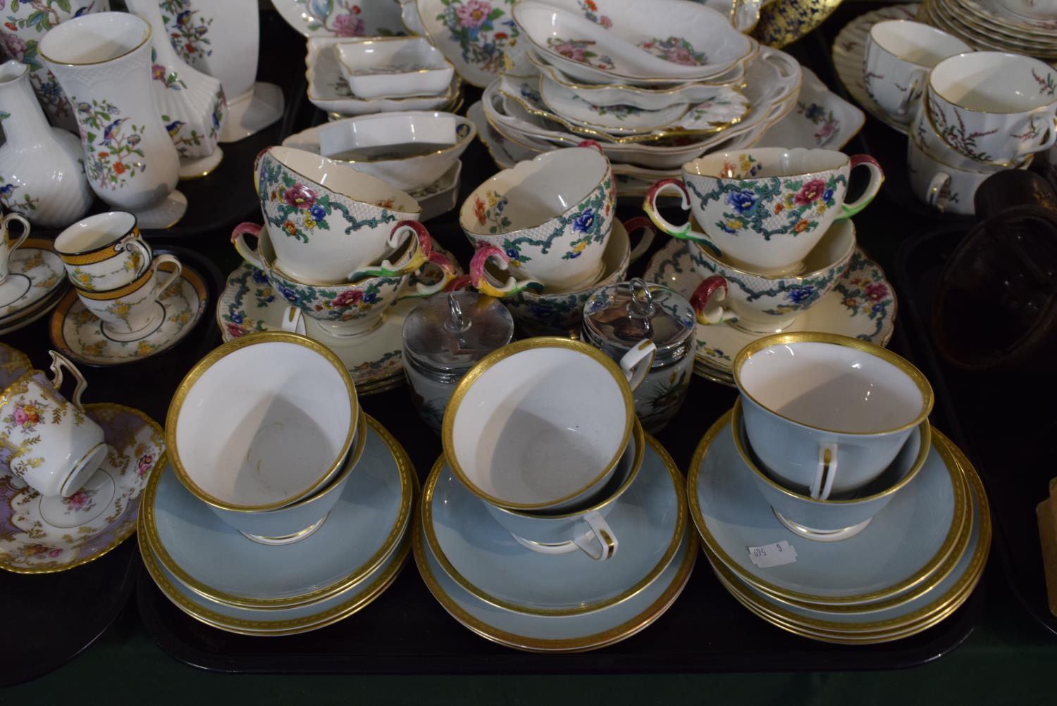 Lot 206 - A Tray Containing Six Royal Worcester Westminster Trios, Six Royal Cauldon Two Handled Cups and