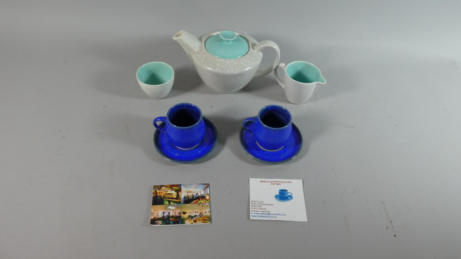 Lot 93 - A Poole Three Piece Tea Service together with Pair of Walford Pottery Coffee Cans and Saucers