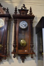 Lot 171 - A Late Victorian/Edwardian Vienna Style Wall Clock with Half Spiral Plaster Decoration and Rearing