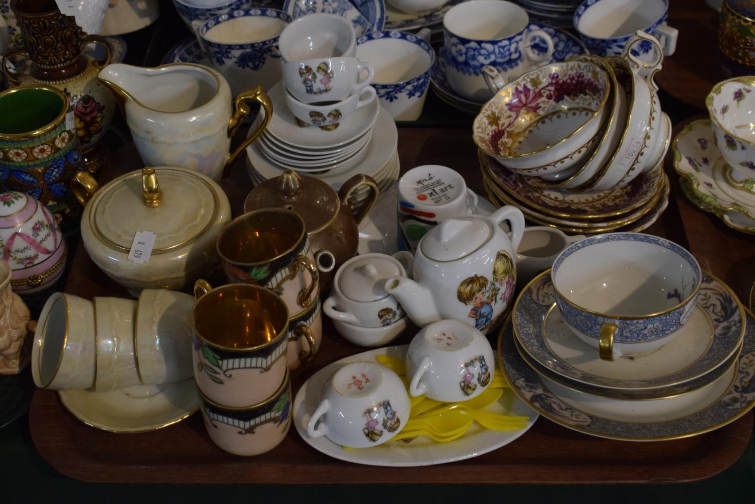 Lot 195 - A Tray Containing Various Coffee Cans and Saucers, Child's Teaset, Teacups and Saucers, Pearl Ware