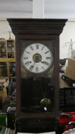 Lot 393 - An Edwardian Oak Cased Wall Clock for Restoration
