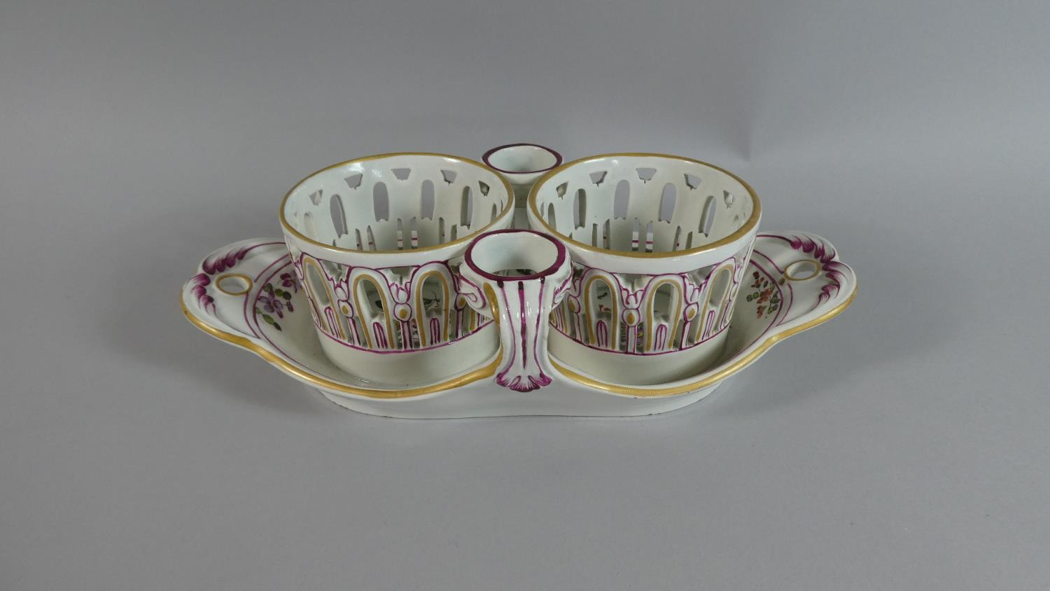 Lot 245 - A Floral Pattern Meissen Decorated Stand, 25cm Wide