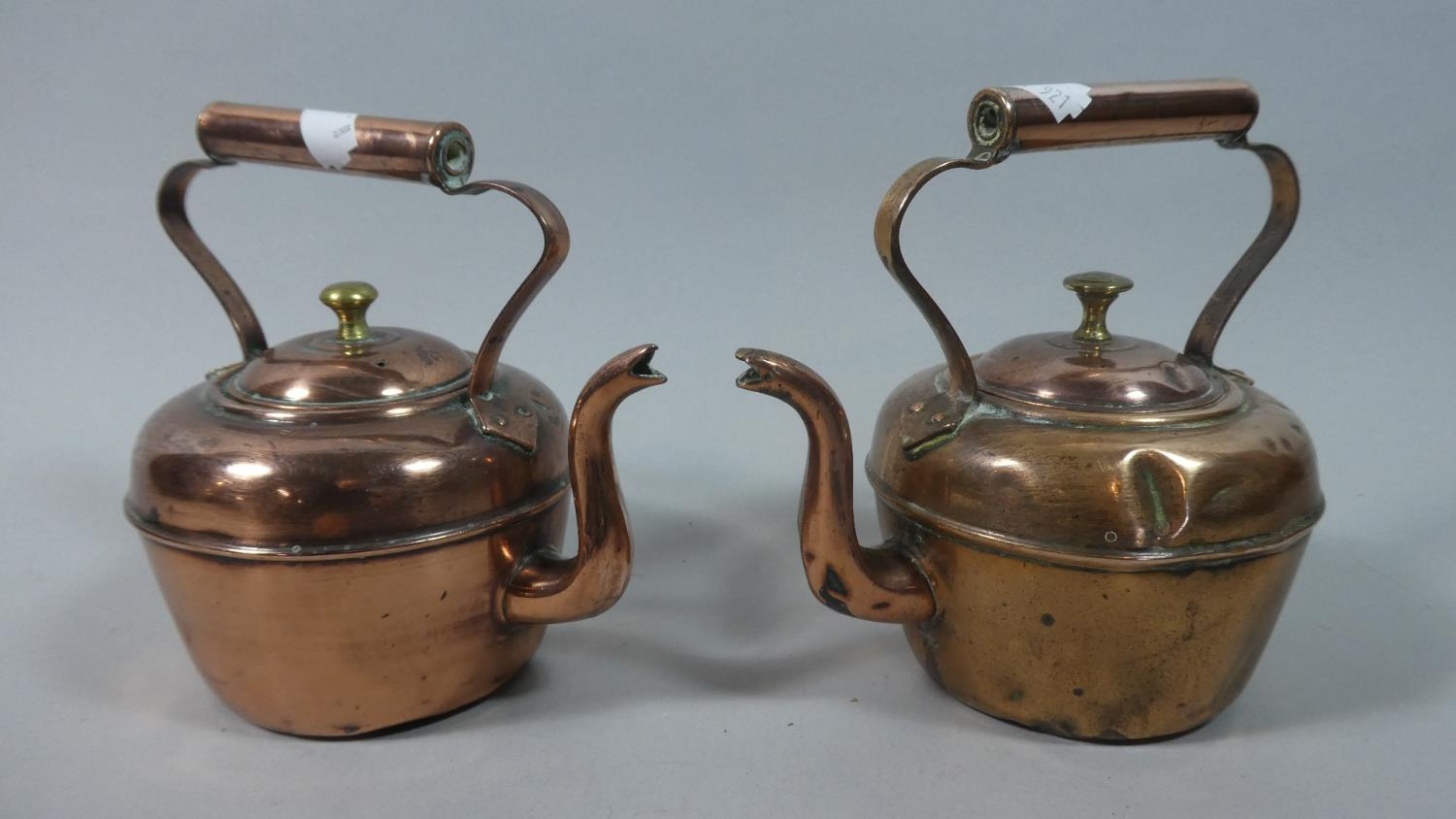 Lot 48 - A Near Pair of 19th Century Small Copper Kettles, The Tallest 15cm High
