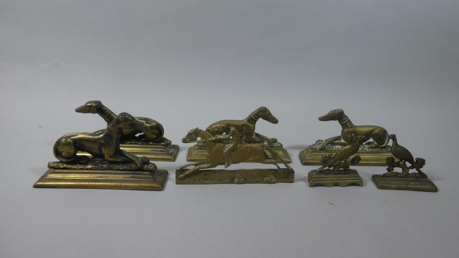Lot 81 - A Collection of Victorian Brass Fireside Ornaments in the Form of Greyhounds, Pheasants and