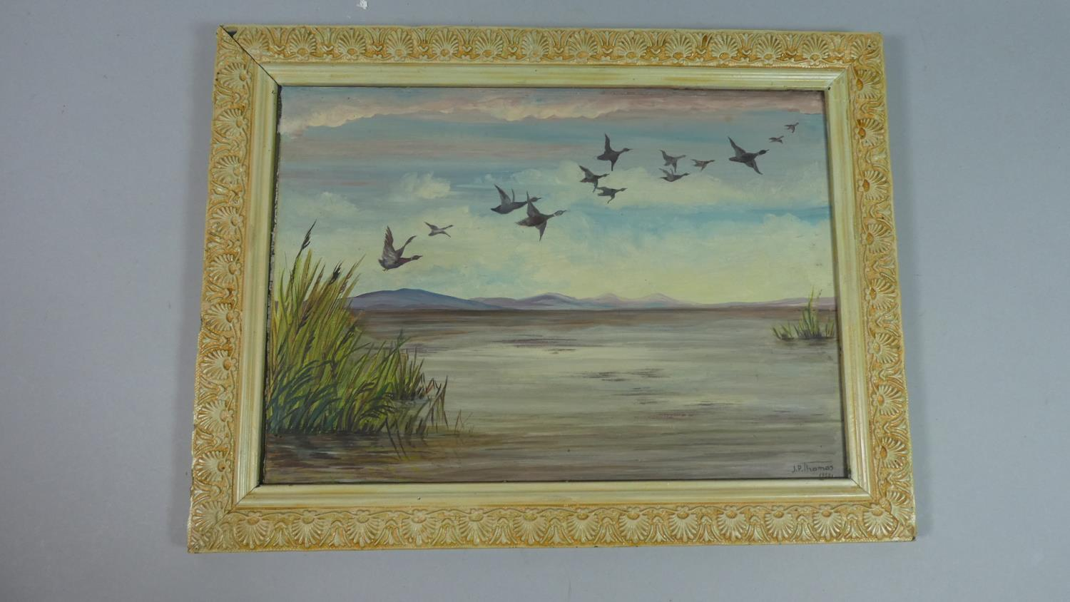 Lot 128 - A Framed Oil on Glass Depicting Ducks in Flight, Signed J P Thomas, 1955, 33cm Wide