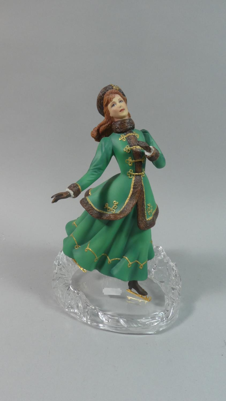 Lot 316 - An Austrian Figure of Maiden Skating, Set on Glass Base