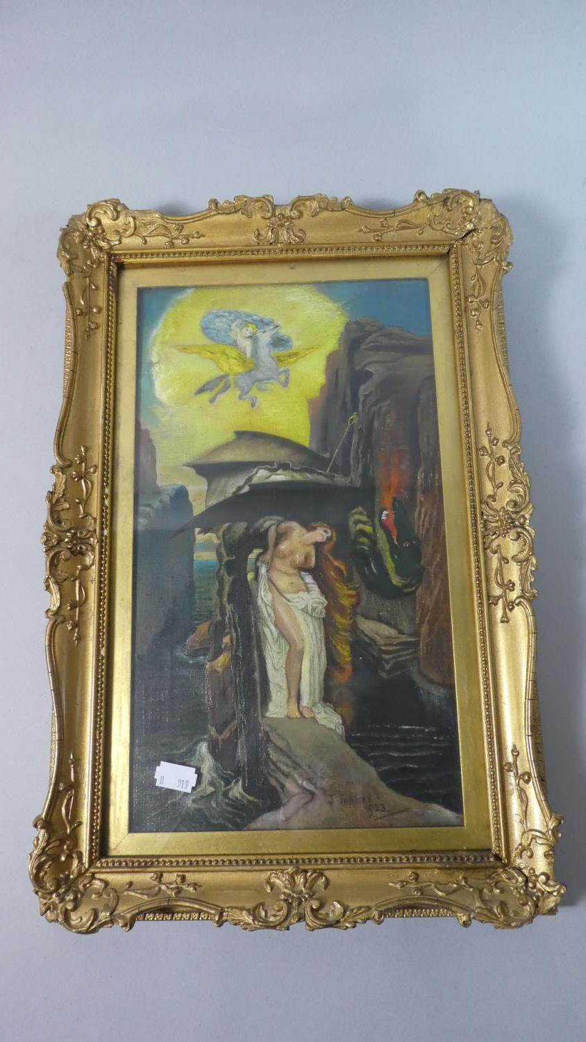 Lot 156 - A Gilt Framed Naive Oil Depicting Dragon with Nude Maiden Signed J Topliss 1923, 34cm High