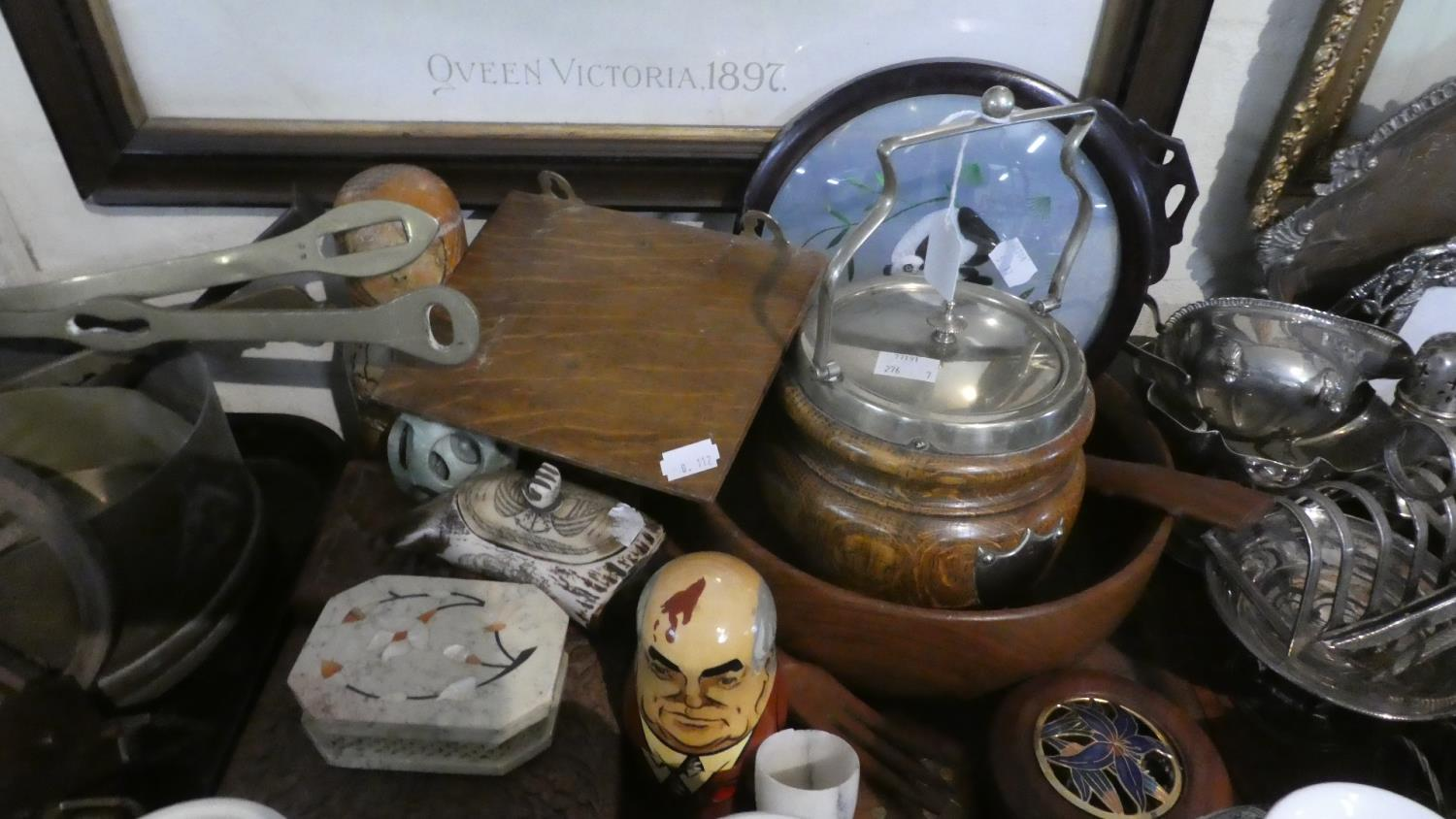Lot 253 - A Tray of Treenware to Include Silver Plate Mounted Biscuit Barrel, Two Russian Dolls, Carved Wooden