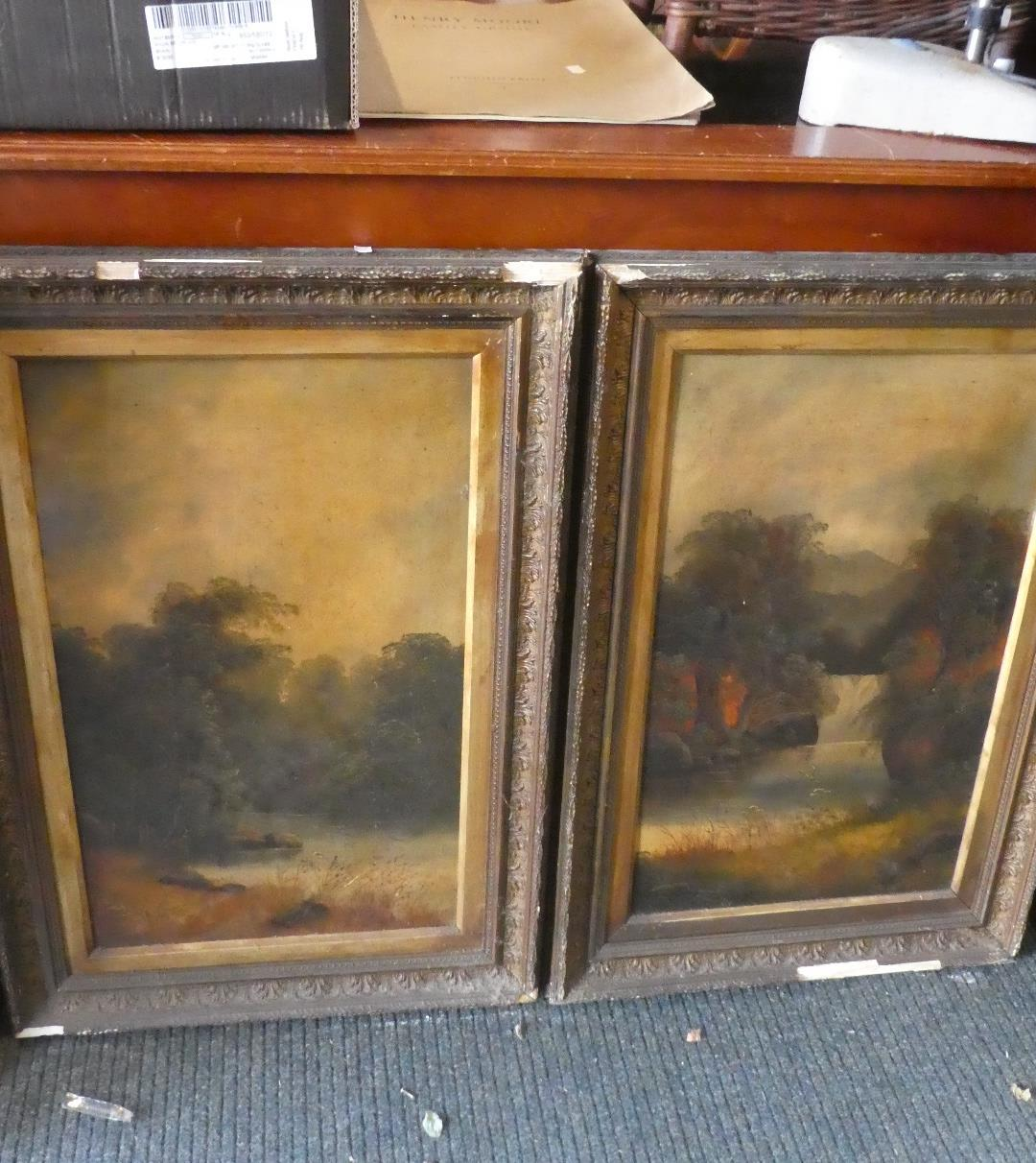 Lot 413 - A Pair of Gilt Framed Oils on Board Depicting Wooded Lake and Waterfall Each 67cm