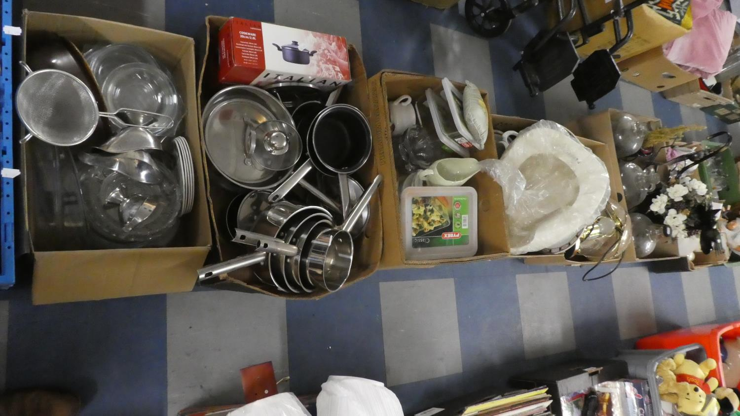 Lot 451 - Six Boxes of Kitchenwares, Glasswares, Ceramics, Ornaments etc