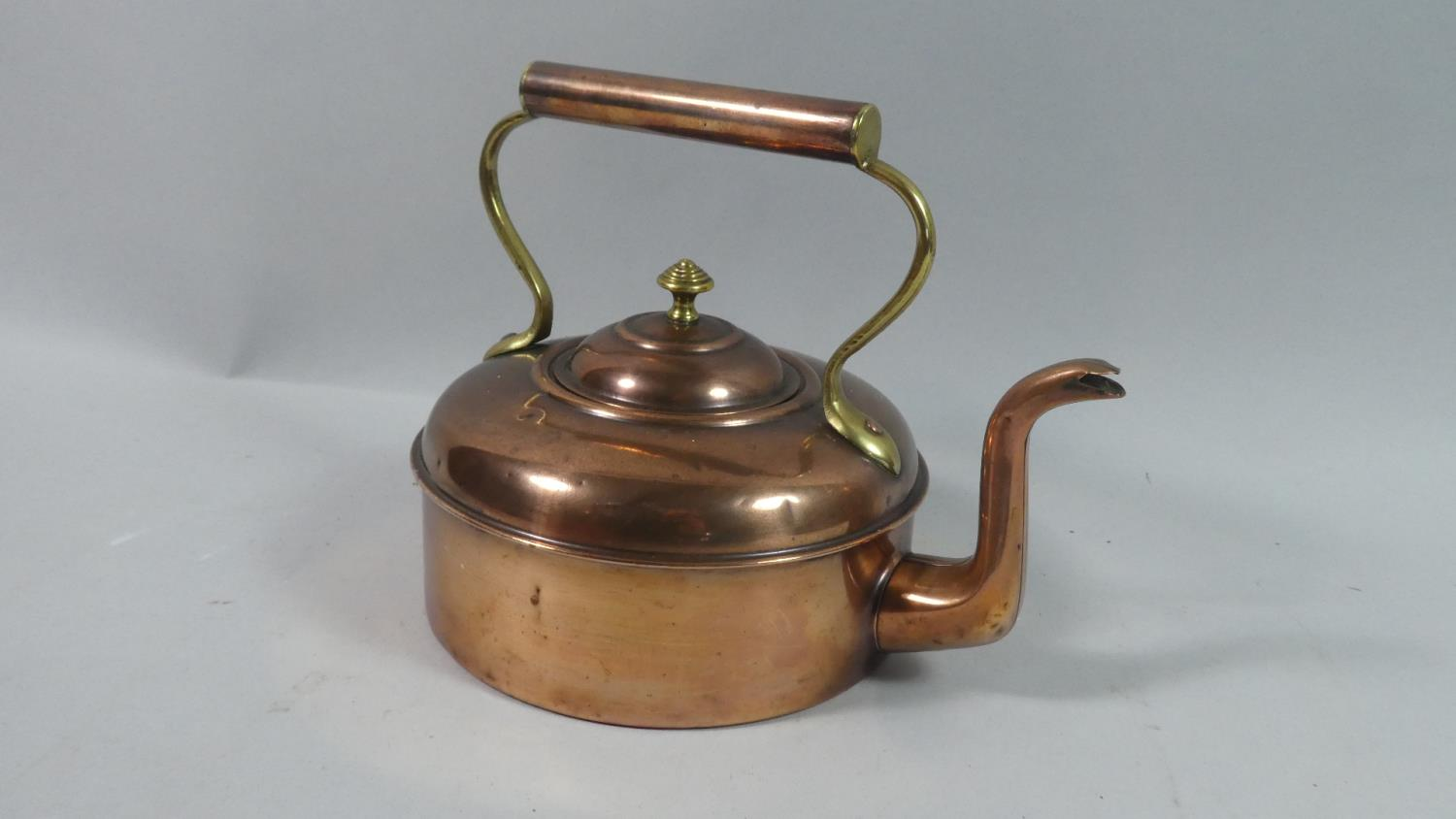 Lot 46 - A Circular Copper and Brass Kettle, Stamped 3 to Base, 16cm Diameter