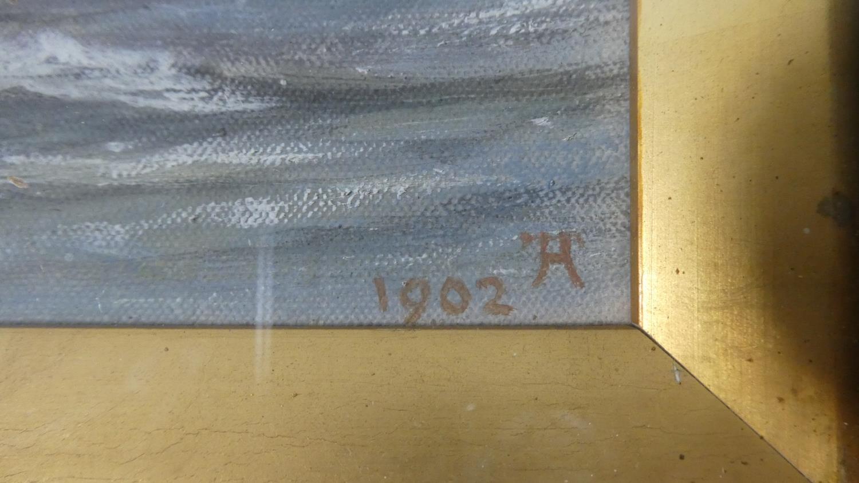 Lot 155 - A Gilt Framed Oil on Board Depicting River in Flood, Dated 1902, 29cm Wide