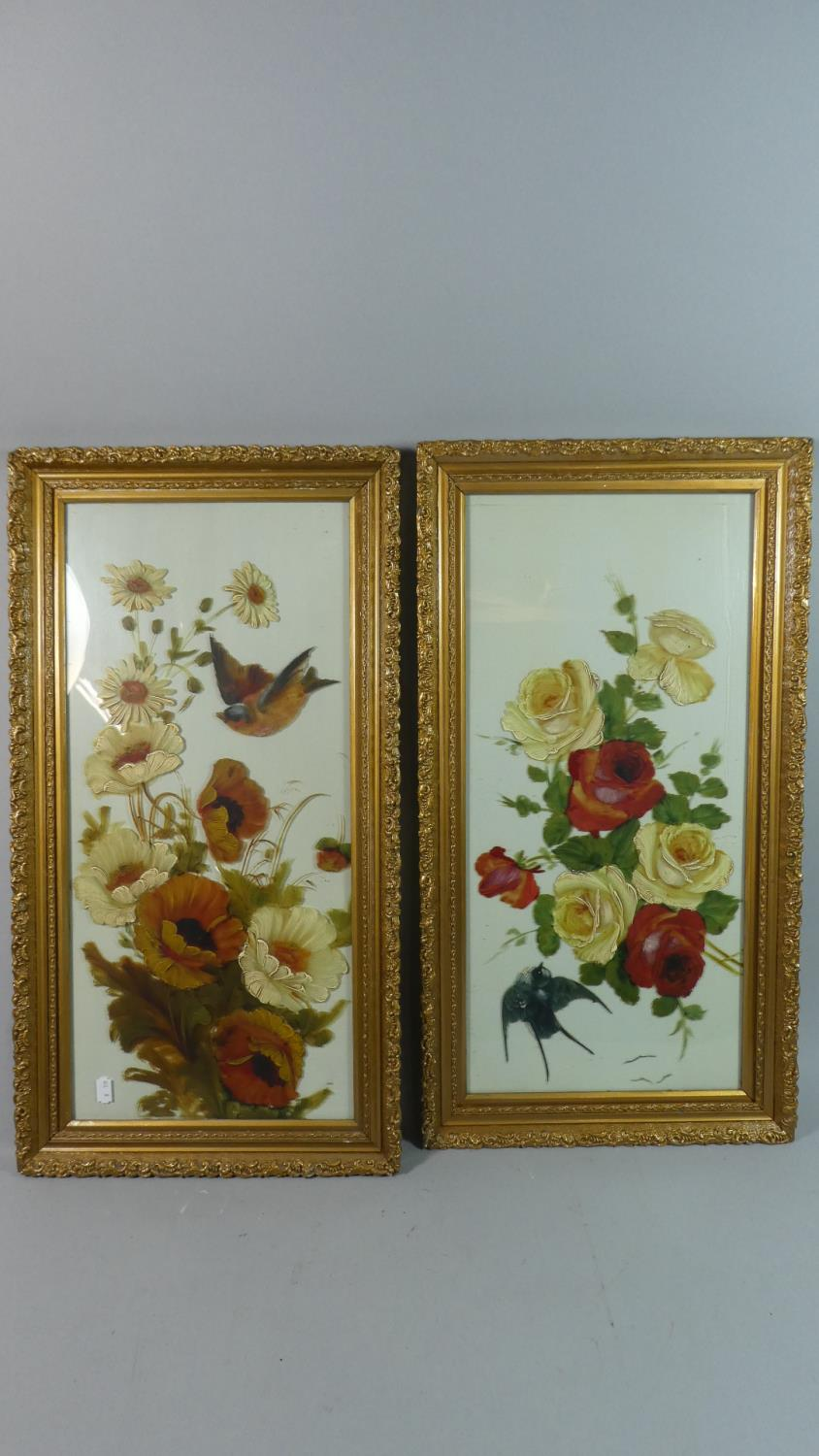Lot 250 - A Pair of Victorian Gilt Framed Still Life Paintings on Opaque Glass, Flowers and Birds, Each 59cm