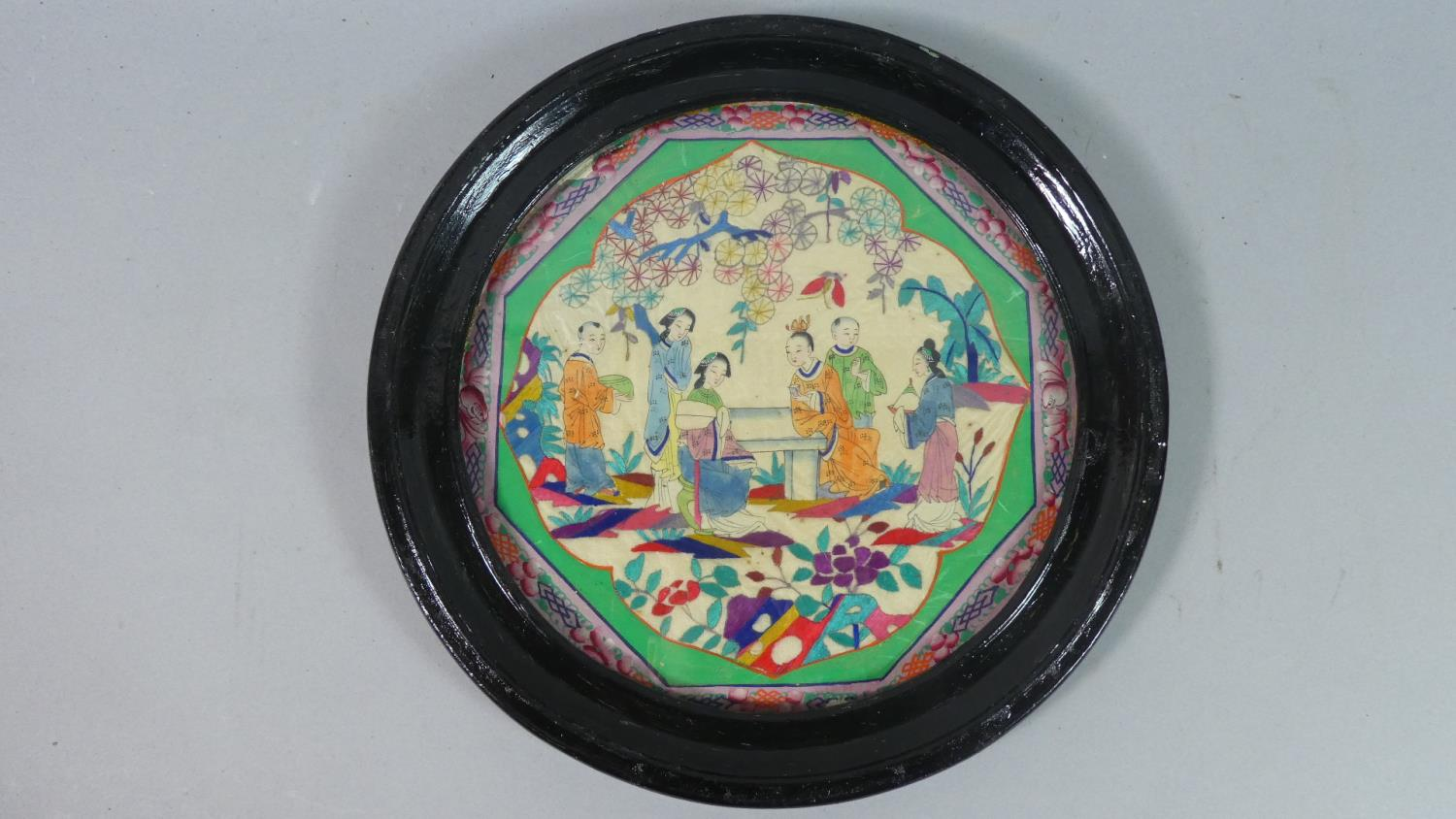 Lot 141 - An Early Circular Framed Oriental Hand Painting on Silk Depicting Family Scene, 29cm Diameter