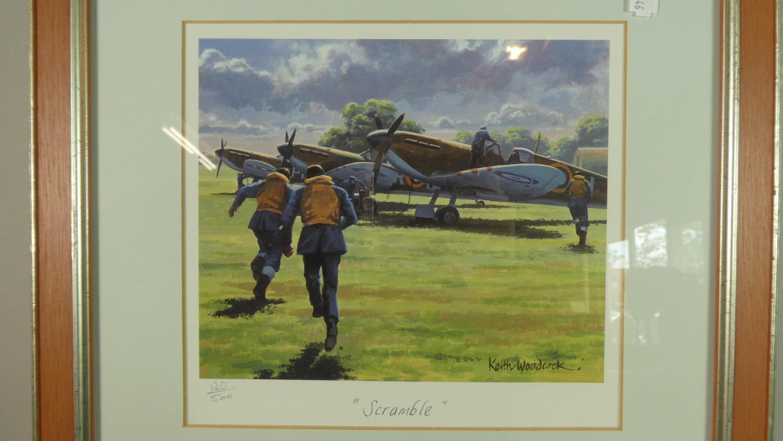 Lot 234 - A Framed Triptych of RAF Prints, Limited Edition After Kieth Woodcock, Scramble, Combat, Return