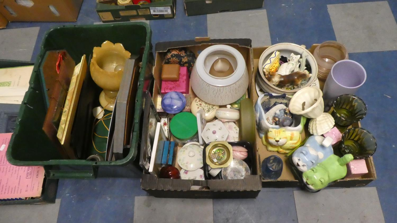 Lot 435 - Three Boxes of China, Glassware, Mirrors, Figural Ornament etc