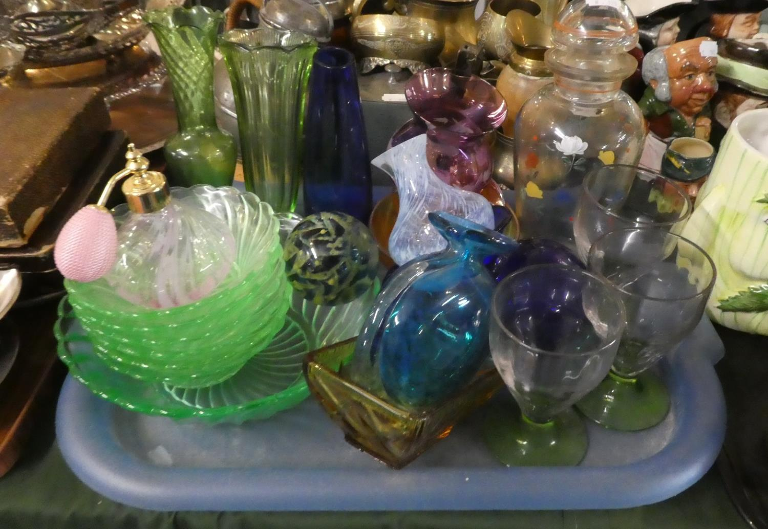Lot 303 - A Tray of Coloured Glassware