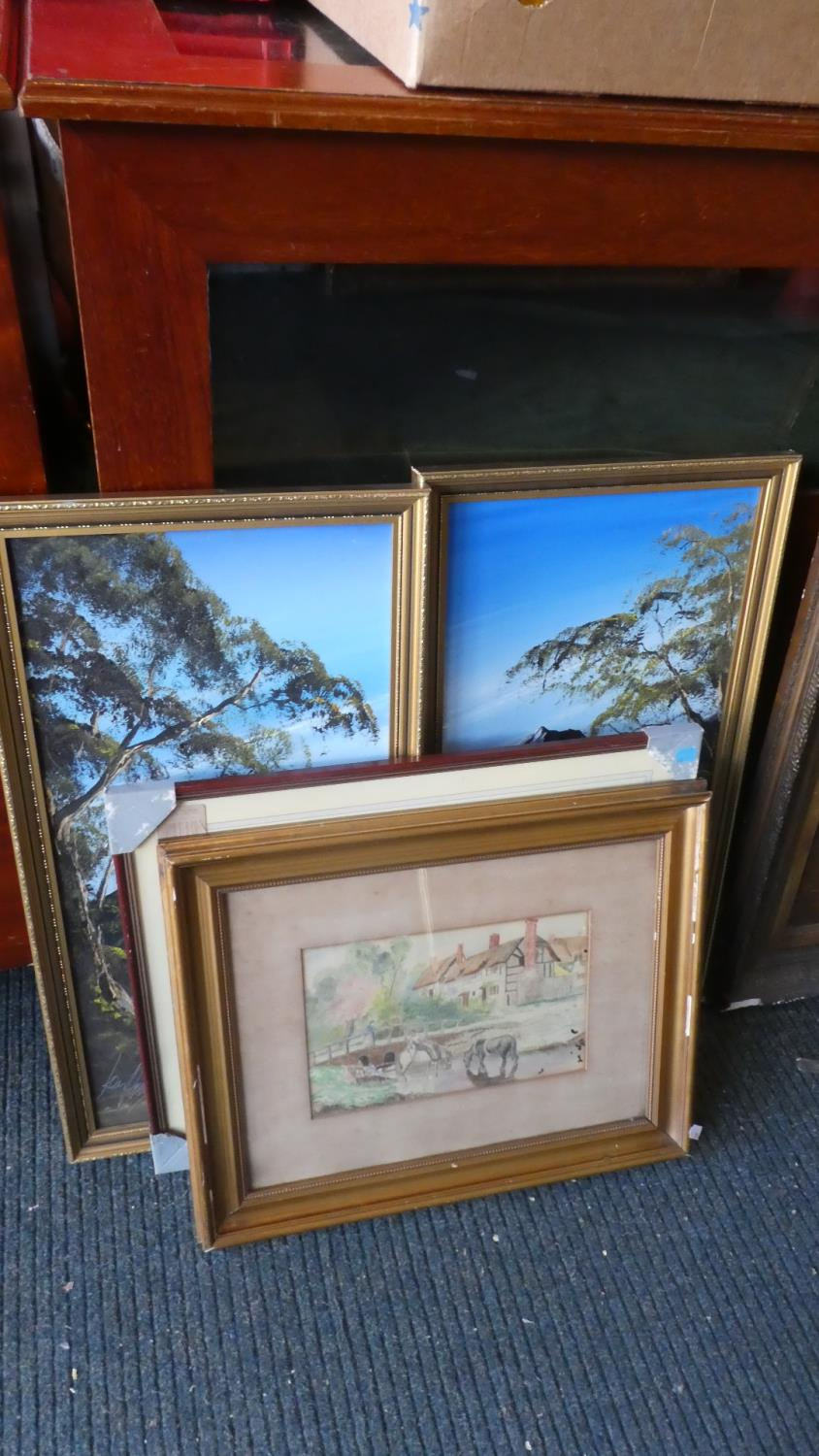 Lot 412 - A Pair of Oils on Board Depicting Alpine Lakes, Framed Water Colour and a Framed Print, Apple