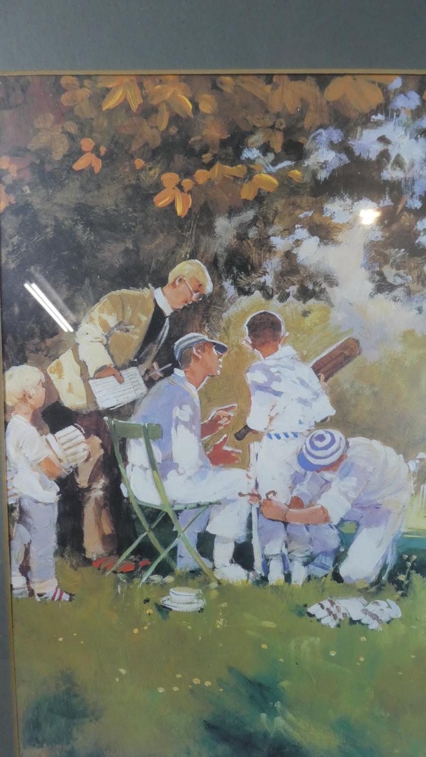 Lot 243 - A Framed Print Depicting Village Cricket Match, 48cm Wide