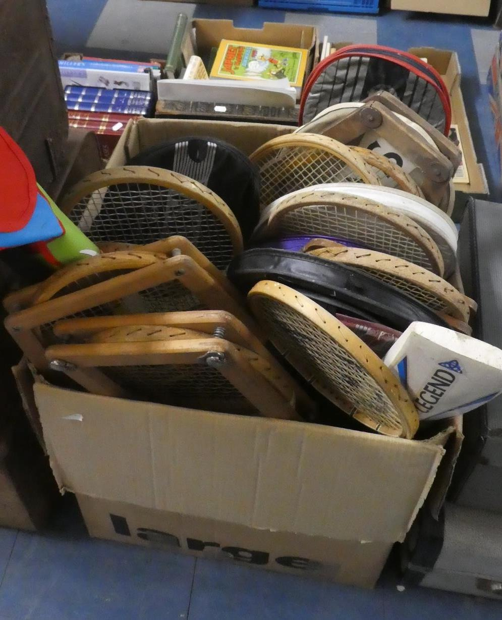 Lot 427 - A Box Containing Various Vintage Tennis Rackets and Sporting Equipment
