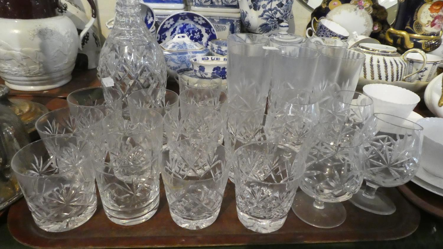 Lot 235 - A Tray Containing Various Cut Glass Whiskies, Tumblers, Brandy Balloons, Decanter
