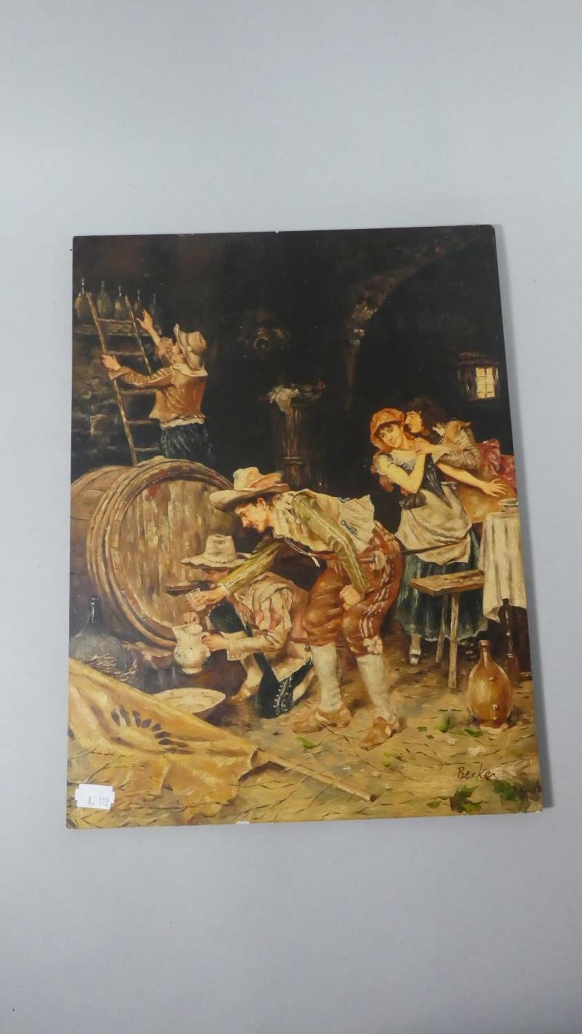 Lot 148 - An Overpainted Print on Board Depicting Continental Tavern Scene After Becker, 40cm High