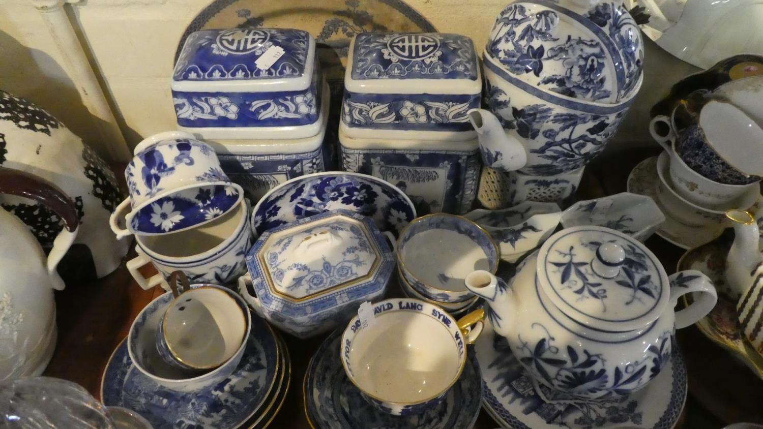 Lot 236 - A Tray Containing Blue and White Ceramics to Include Oriental Tea Caddies, Teapot, Cups and