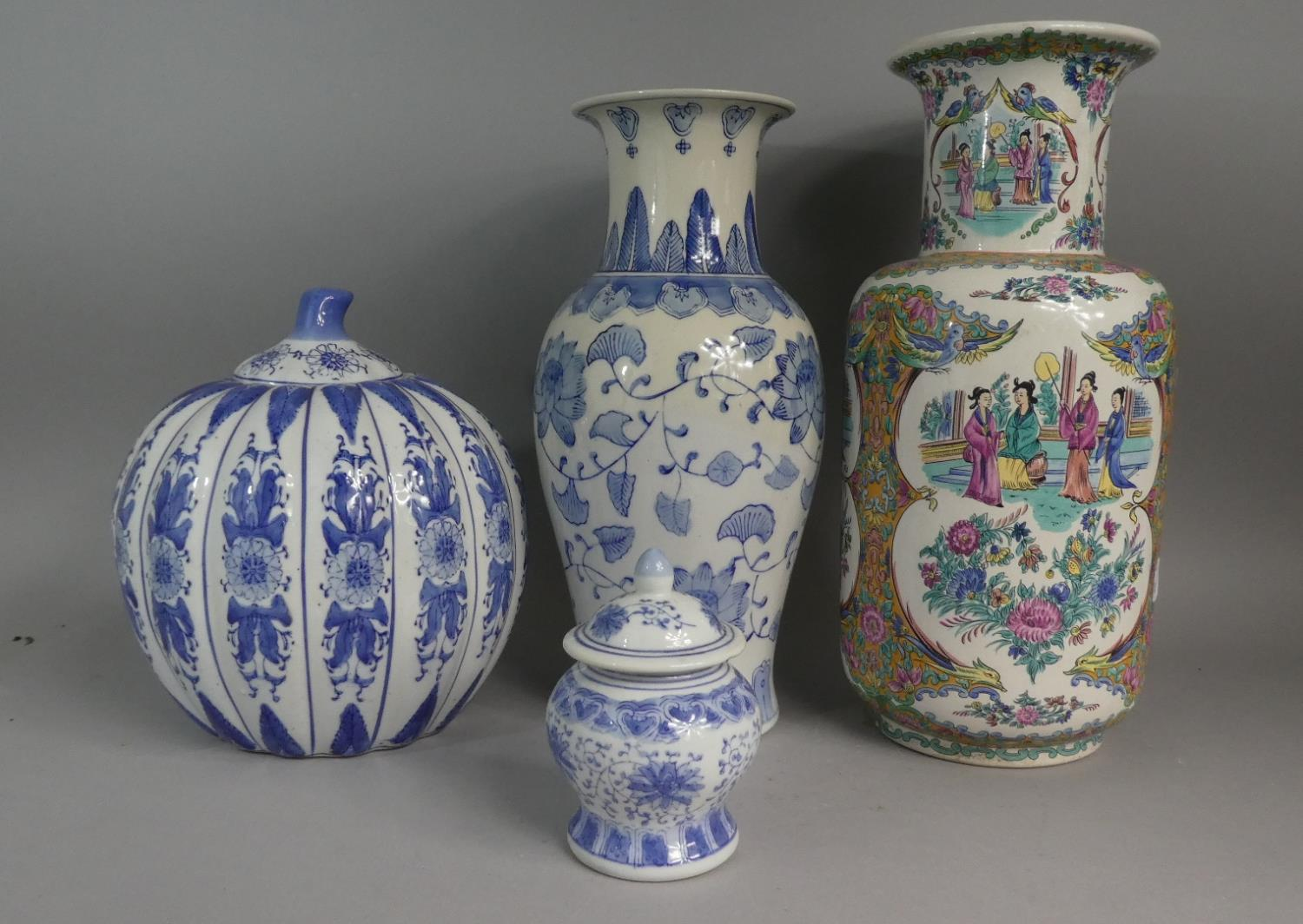 Lot 410 - A Collection of Late 20th Century Oriental Ceramics to Include Vases Etc. Tallest Vase 40cms High.