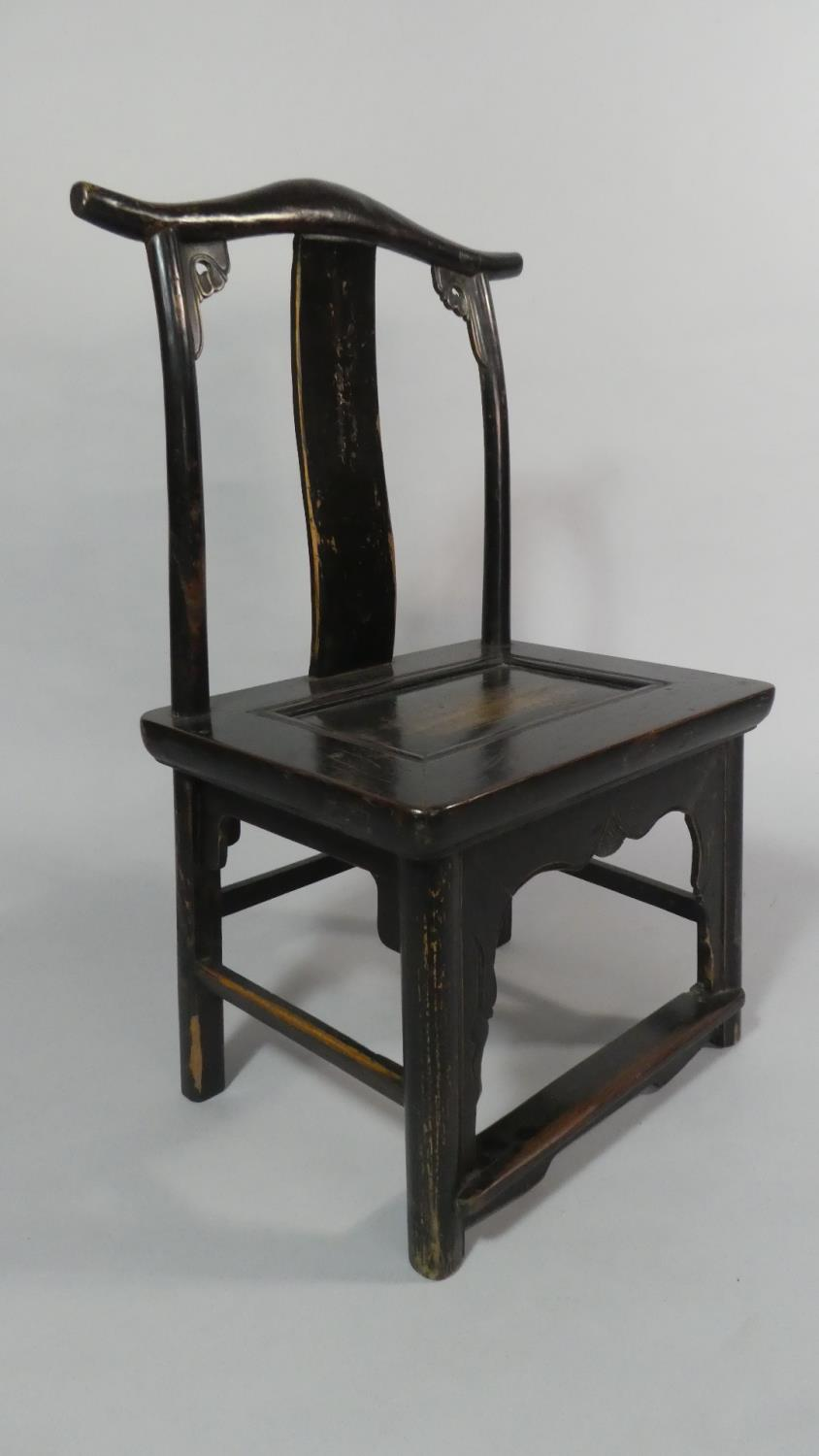 Lot 52 - A Pair of 19th Century Ebonised Chinese Scholar's Chairs of Ming Design.