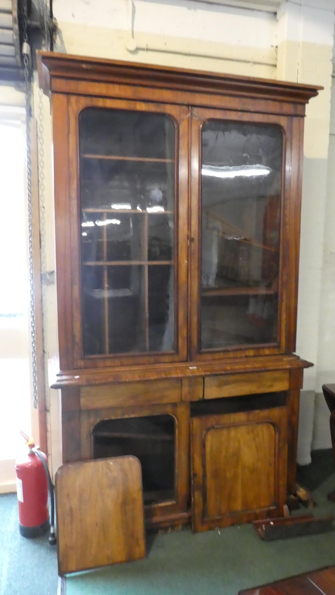 Lot 485 - A Late Victorian Mahogany Library Bookcase for Restoration. Glazed Top Section with Shelves and