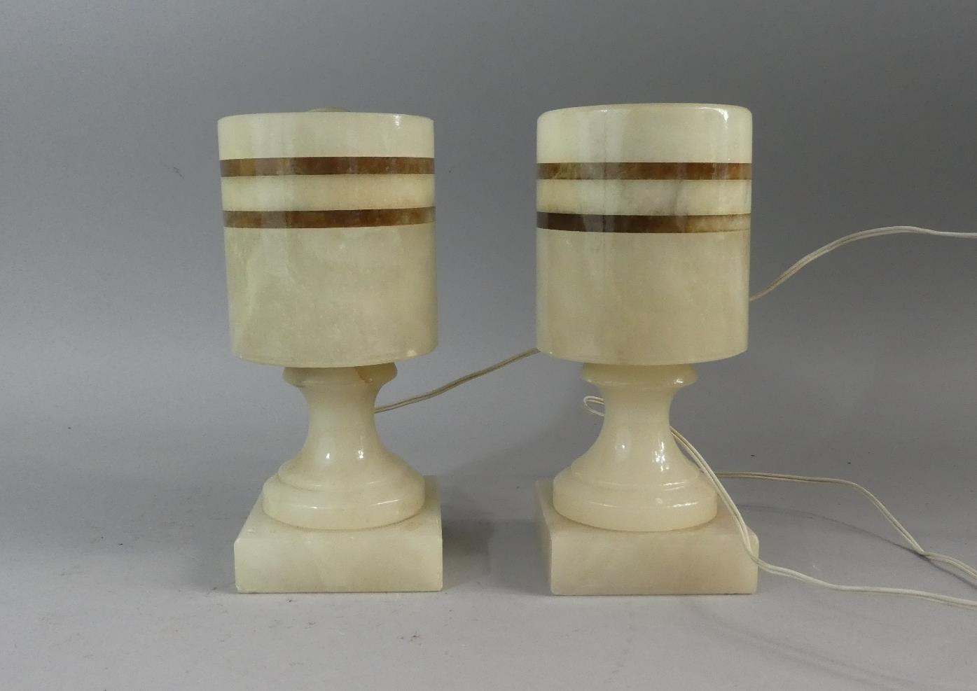 Lot 74 - A Pair of Small Art Deco Style Onyx Table Lamps, 20cm high