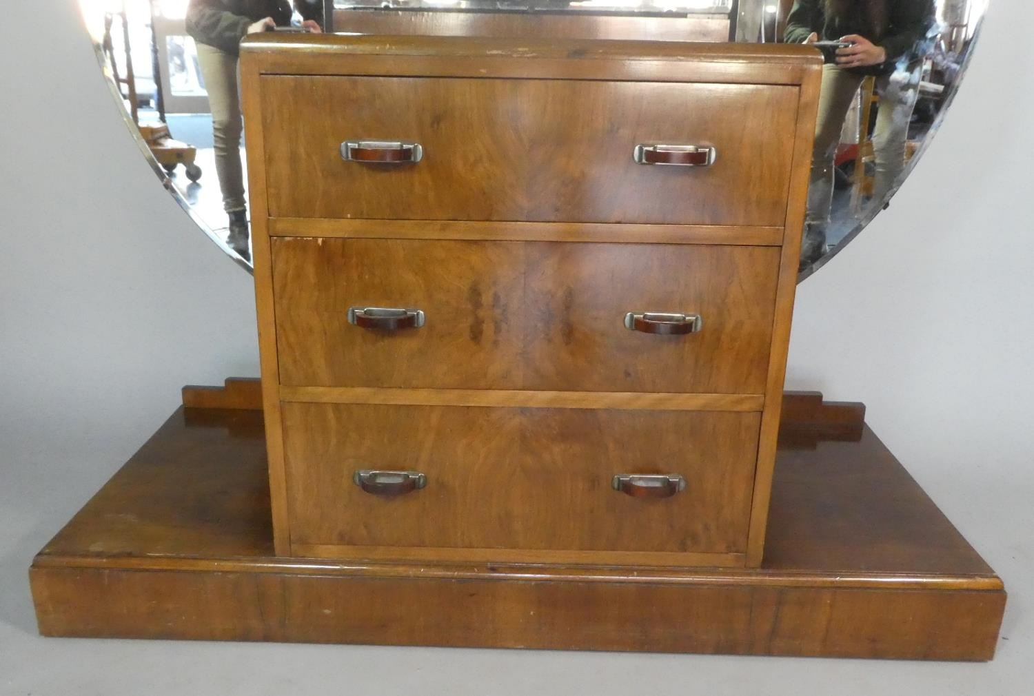 Lot 466 - An Art Deco Bedroom Dressing Chest with Three Centre Drawers and Plinth Base, Three Section Circular