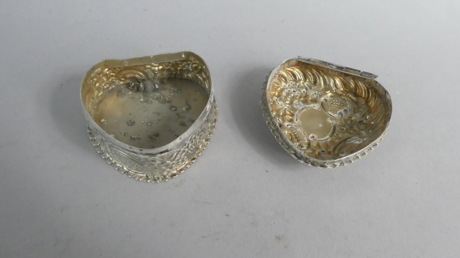 Lot 228 - Two Heart Shaped Silver Boxes and a Silver Heart Shaped Pin Dish