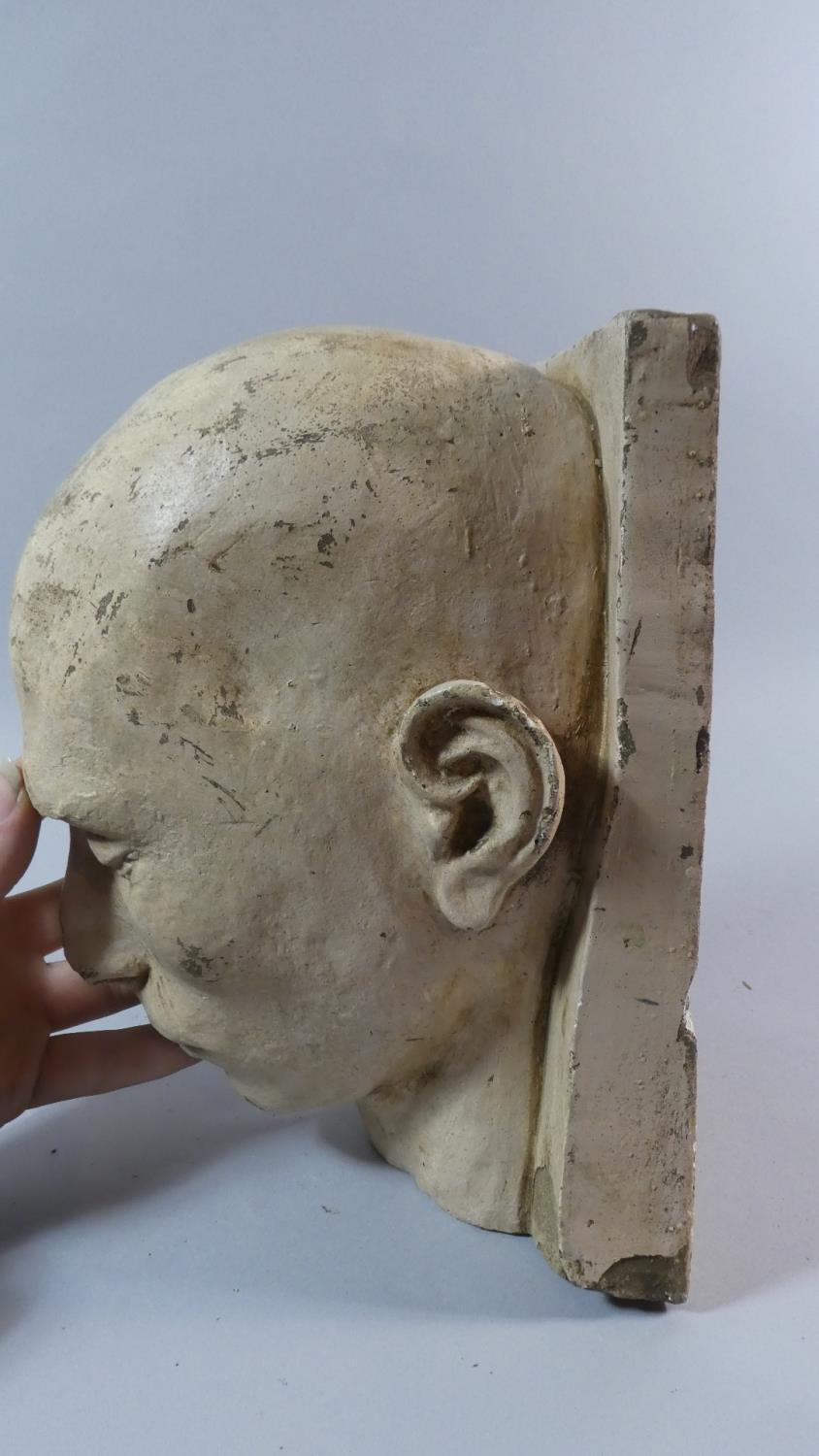 Lot 38 - A 19th Century Plaster Death Mask of a Shaven Headed Man, Possibly a Convict or Asylum Inmate.