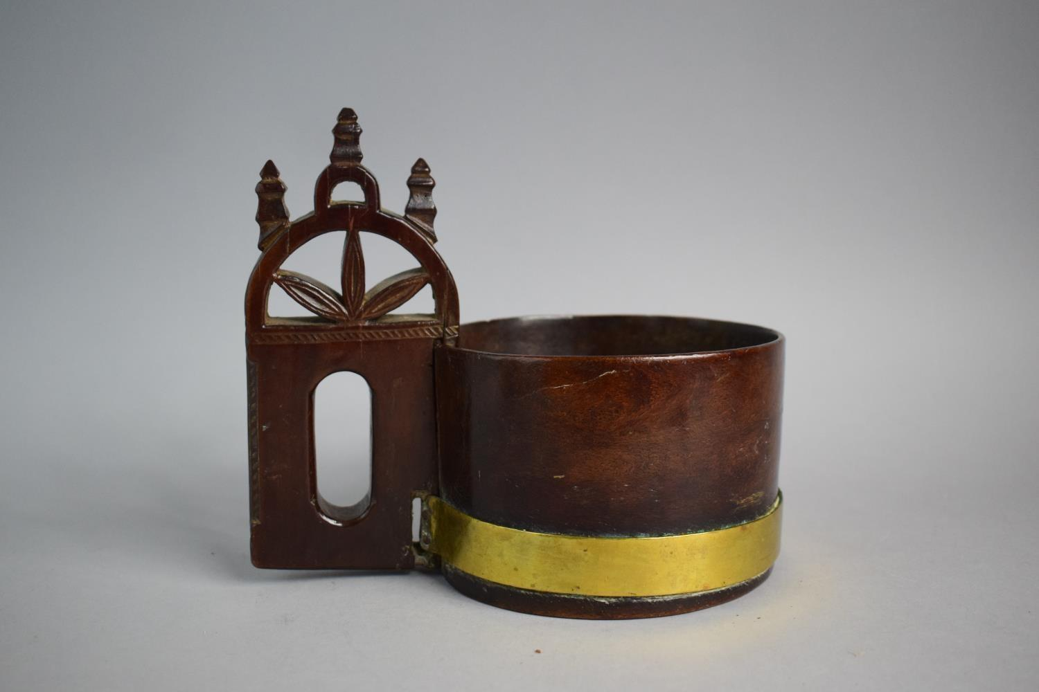 Lot 44 - A Brass Banded North European/Nordic Burr Wood Drinking Vessel with Carved and Pierced Gothic