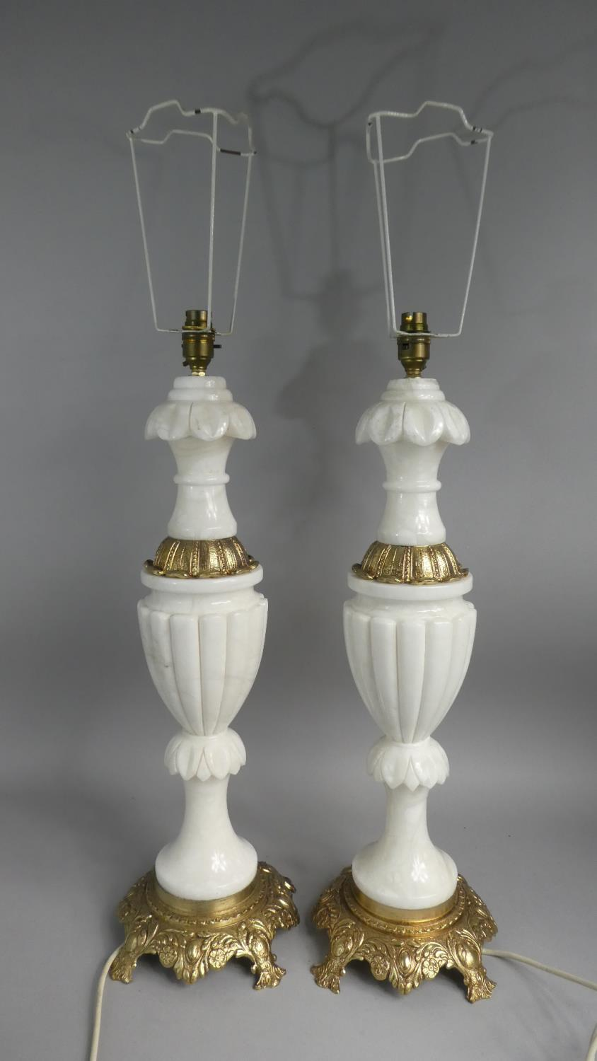 Lot 76 - A Large Modern Pair of Gilt Brass and Alabaster Table Lamps of Vase Form, 65cm High