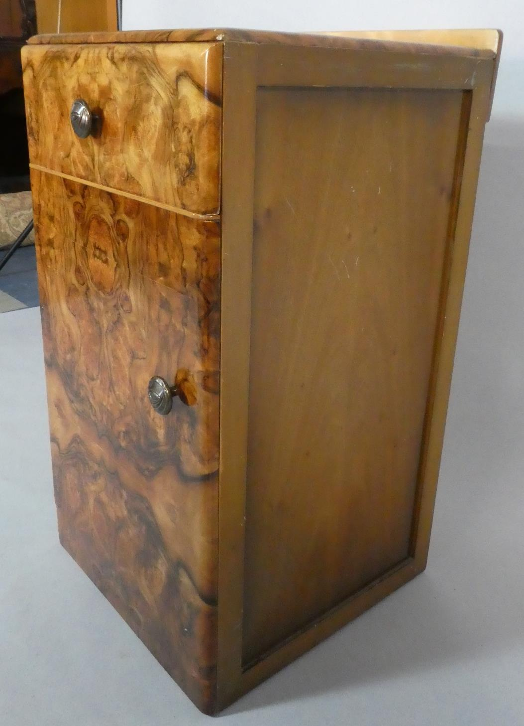 Lot 15 - An Art Deco Burr Walnut Bedside Cabinet with Top Drawer, 38cms Wide