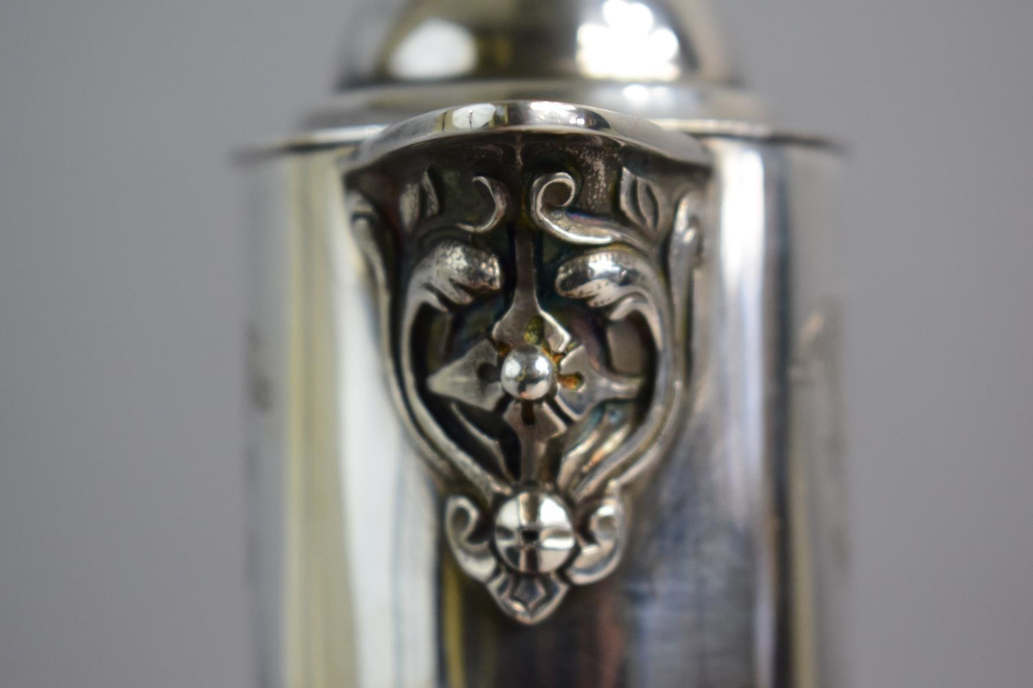 Lot 364 - A Silver Mounted Etched Glass Claret Jug with Welsh Dragon Finial and Fleur De Lys Decoration.